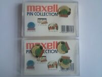 VERY RARE MAXELL PIN COLLECTION IN CASSETTE TAPES CASE. ORIGINAL UNUSED, UNIQUE, UNTOUCHED AND MINT.