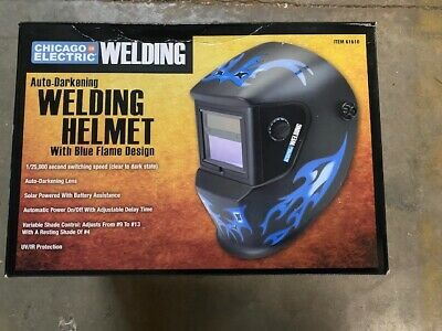 Chicago Electric Welding Helmet Blue Flame 61610 Auto-darkening Lens Mask New