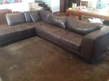 Sofa - L shaped brown leather look Mosman Mosman Area Preview