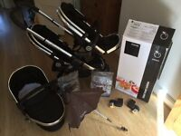 Excellent iCandy Peach Pushchair in Black with CarryCot, Lrg & Sml Chairs & Car Adapters