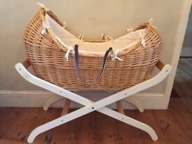 MOTHERCARE WICKER MOSES BASKET & STAND