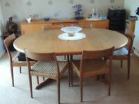 Danish teak dining table and 6 chairs