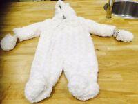 John Lewis Rosebud fur snowsuit: 6-9 months.