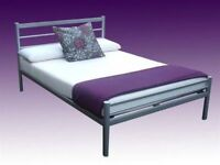 BRAND NEW SINGLE / DOUBLE / SMALL DOUBLE SILVER METAL BED FRAME WITH CHOICE OF MATTRESS - SOLID BASE