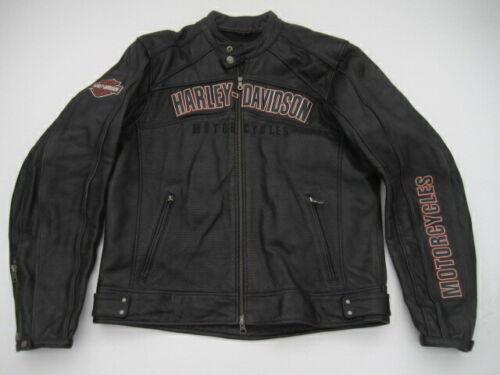 Mens Large Harley Davidson black leather full zip motorcycle jacket 09
