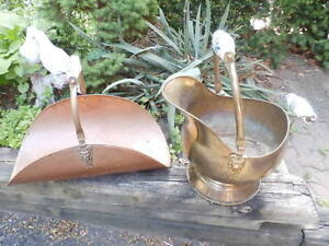 COPPER COAL BUCKET WITH WHITE HANDLE AND LOG HOLDER
