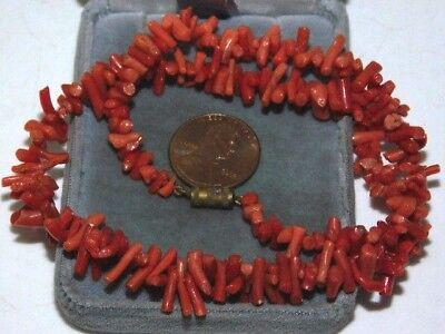Vintage Genuine Salmon Branch Coral Graduated bead 15.5
