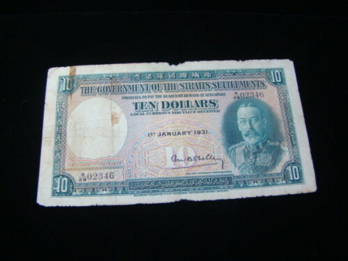 Straits Settlements 1931 $10.00 Banknote VG Pick#18a Nice!!