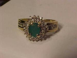 #923-14K YELLOW GOLD NATURAL EMERALD AND DIAMONDS-Size 7 --4.61 grams-  Free Shipping Will accept email bank transfers..