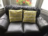 2-seater sofa. dark brown leather