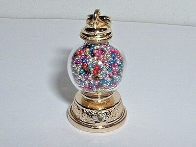 14K YELLOW GOLD MOVEABLE GUM BALL MACHINE GUMBALL PENDANT CHARM