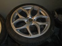 "22"" ALLOY WHEELS WITH TYRES TO FIT X5/x6/RANGE ROVER ETC"