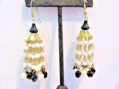 Drops Vintage Glass Bead Strand - BEADED DROP EARRINGS BLACK GLASS & FAUX PEARLS LONG VINTAGE PIERCED 12 STRANDS