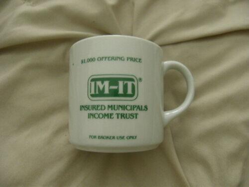Insured Municipals Income Trust Mug Excellent for Coffee, Tea, Cocoa New FREE 48