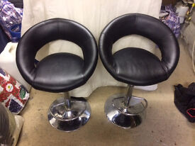 2 faux leather barstools