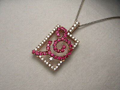 - Gorgeous Estate 18K Pink Rose Gold Diamond Sapphire Pendant Slide