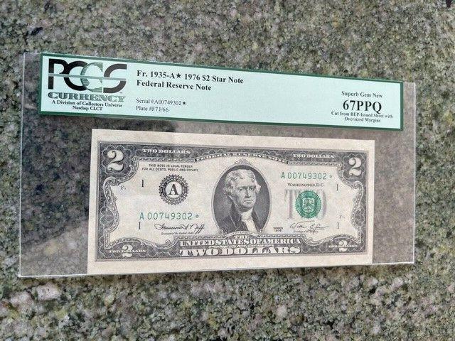 1976 2 FED RESERVE STAR NOTE A00749302 PCGS SUPERB GEM NEW 67 PPQ - $43.77