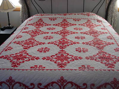 vintage handmade embroidered white with red stitched quilt VGC
