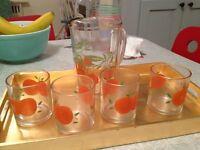 Home Decor:1960's Vintage Kitchen Juice Pitcher + 4 Glasses.Mint