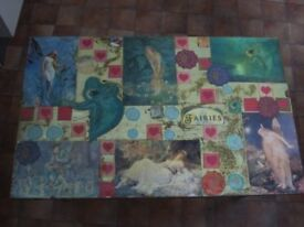 Vintage Small Painted Table With Fairy Collage