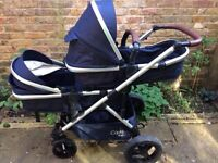 Cupla Duo Double Buggy: Single to Tandem Buggy in Navy (2017 model)