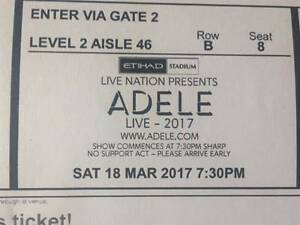 Adele Live - Saturday 18/3/17 - Melbourne - A Reserve Seats x 2 Pascoe Vale Moreland Area Preview