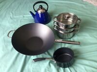 COOKWARE - 4 ITEMS, ALL UNUSED,GOOD QUALITY, £20 FOR THE LOT.