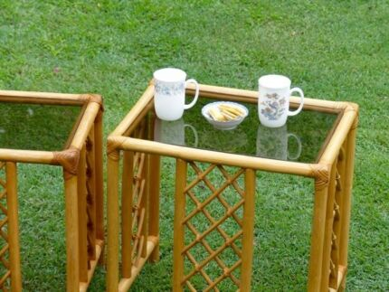 Nest of three small (glass top) bamboo tables