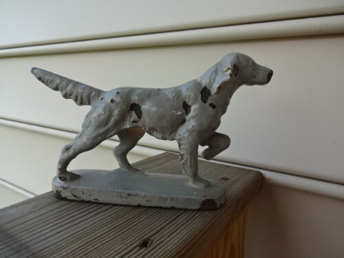 "Old Vtg Cast Iron Pointer? Hunting Dog Walking Door Stop Stopper 7"" x 5"""