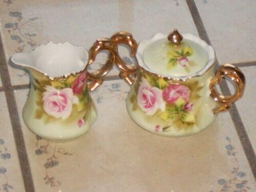 Lefton China HERITAGE GREEN Set of Sugar Bowl and Creamer #3066