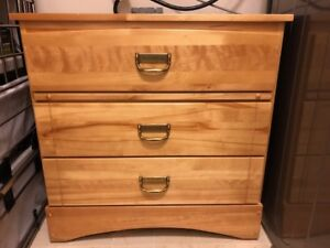 Dresser 3 drawer, Made in Canada, Solid Birch