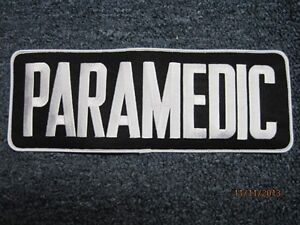PARAMEDIC PATCH BLACK WITH WHITE LETTERS 4 X 11 INCH EMS EMT TACTICAL BACK PATCH