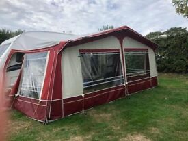 VENTURA ATLANTIC FULL AWNING FRAME SIZE 18. BURGUNDY AND BEIGE