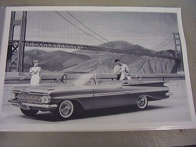 1959 CHEVROLET  CONVERTIBLE   12 X 18 LARGE PICTURE   PHOTO