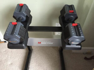 Pair of Adjustable Dumbbells 5 - 55lbs + Rack Stand hex prostyle