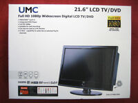 """TV TELEVISION UMC LCD WIDESCREEN 22"""" BLACK DVD PLAYER COMBI MINT CONDITION BOXED LED TV"""
