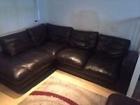 Genuine Brown Leather 5 Seater Corner Sofa for Sale £120 - Must be collected latest this weekend!!