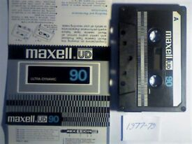MAXELL UD 90 CASSETTE TAPES. 1977-1979. MANY EARLY VINTAGE MAXWELL ON OFFER PLUS OTHERS UP TO 2005.