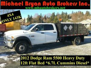 2012 Dodge Ram 5500 12FT FLAT BED **4X4** CUMMINS DIESEL* 143K