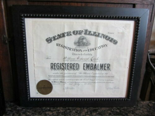 ANTIQUE ILLINOIS AMERICAN FUNERAL DIRECTOR REGISTERED EMBALMER CERTIFICATE 1927