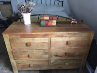 Natural Mango Wood Solid Chest of Drawers