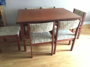 Mid-century modern teak dining table and six (6) chairs