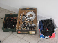 Two boxes of assorted audio cables