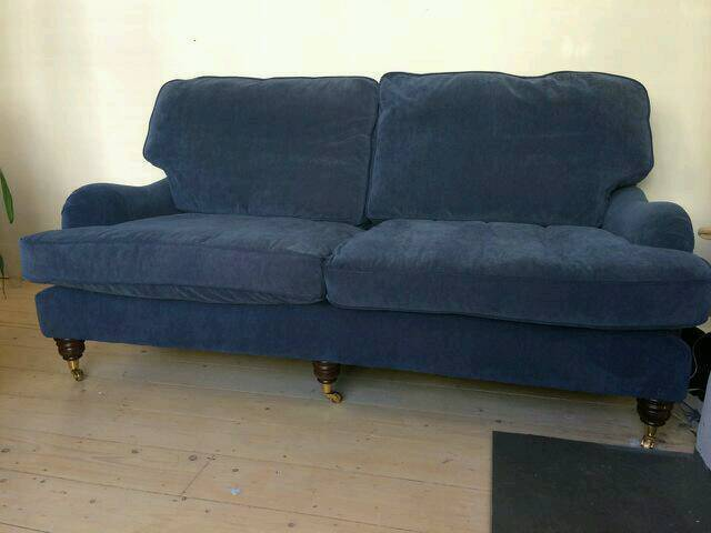 Blue velvet sofa howard George smith style