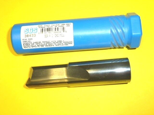 """NOS! SGS 1"""" SOLID CARBIDE END MILL, 2-FLUTE, #30433"""