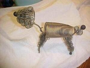 Vintage Wire French Poodle Desk Letter Envelope Mail Holder