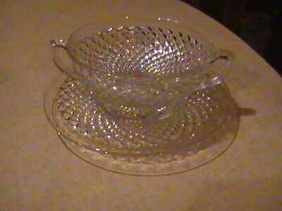Westmoreland Glass English Hobnail Crystal Cream Soup Bowl & Under Plate