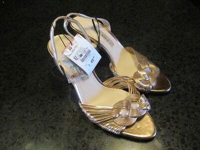 Zara High Heel Sandals With Braided Details, Metallic, Sz. 6.5 $50 Retail