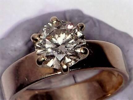 $6375 CERT+100%REAL 1.25CT SOLITARE DIAMOND RING 14K GOLD(4.12G)