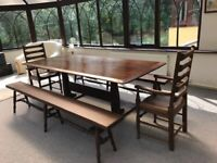 Large Mahogany dinning table, carver chairs and benches, seats 10